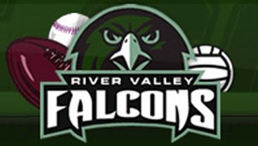 "Cartoon Falcon with football, baseball, and volleyball behind. Text reads ""River Valley Falcons"""